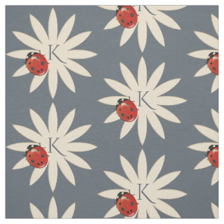 Cute Ladybug And Flower With Monogram Fabric