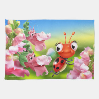 Cute Ladybug and friendly Snap Dragons T towel
