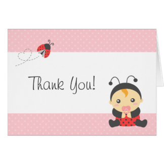 Cute Ladybug Baby Girl, Thank You Card