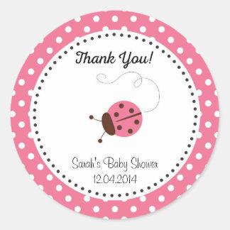 Cute Ladybug Baby Shower Sticker Pink Round Sticker