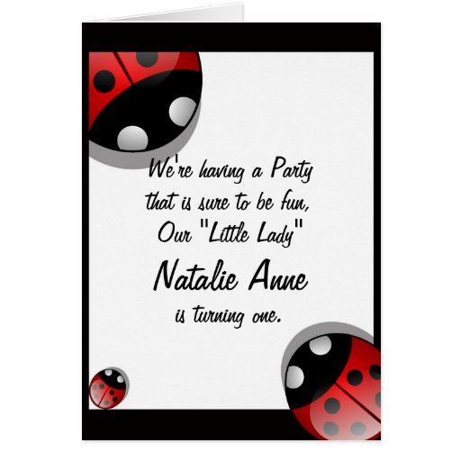 ladybug birthday invitation template greeting card