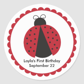 Cute Ladybug Birthday Party Favor Classic Round Sticker