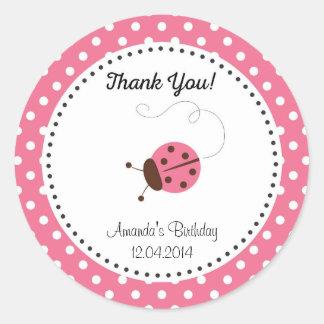 Cute Ladybug Birthday Sticker Pink Round Sticker