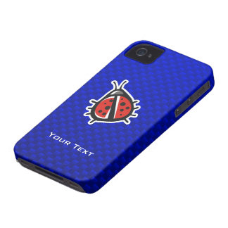 Cute Ladybug; Blue Case-Mate iPhone 4 Cases