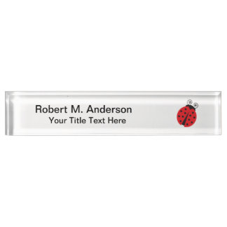 Cute Ladybug Drawing Desk Name Plate