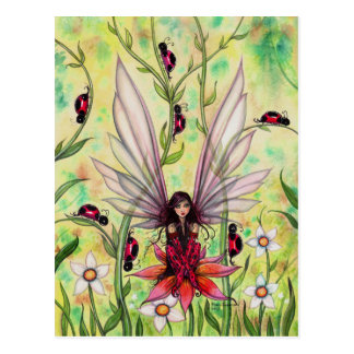 Cute Ladybug Fairy Fantasy Art Illustration Postcard