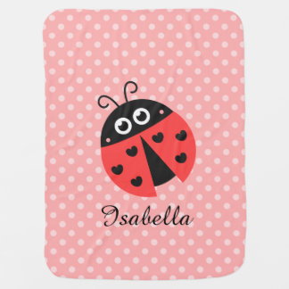 Cute Ladybug for Sweet Baby Girls Swaddle Blanket
