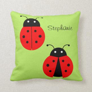 Cute Ladybug Kids Optional Name Custom Color Throw Pillow
