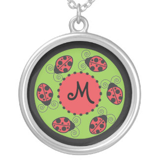 Cute Ladybug Monogram Necklace
