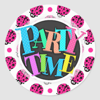 Cute Ladybug, Neon Hot Pink & White Polka Dots Round Stickers