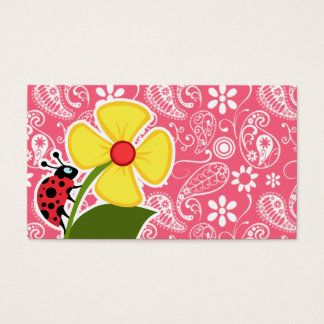 Cute Ladybug on Brink Pink Paisley; Floral Business Card