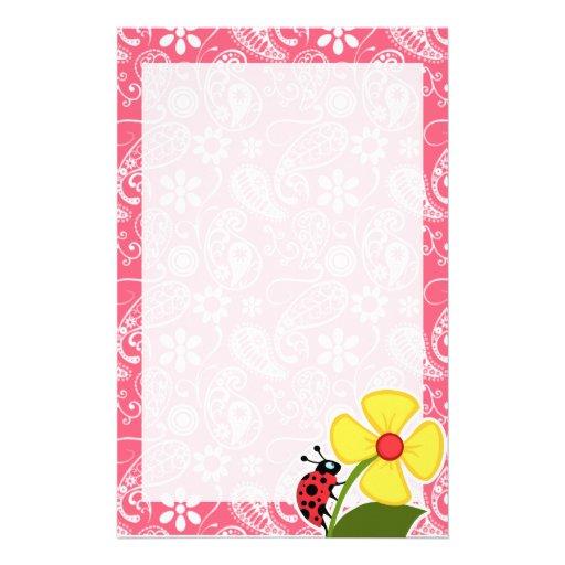 Cute Ladybug on Brink Pink Paisley; Floral Stationery Design