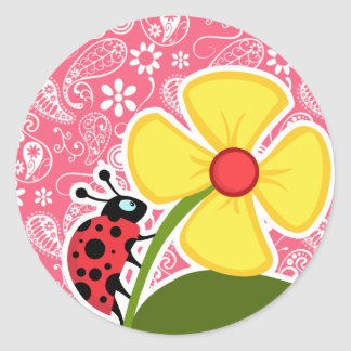 Cute Ladybug on Brink Pink Paisley; Floral Round Stickers