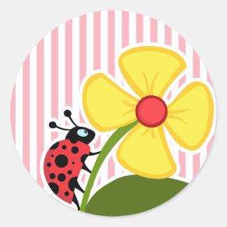 Cute Ladybug on Bubble Gum Pink Stripes Classic Round Sticker