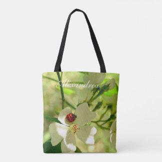 cute Ladybug on white blackberry blossom flowers Tote Bag