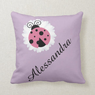 Cute ladybug personalized name nursery kids room throw pillow