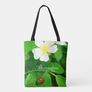 cute Ladybug personalized white blackberry flowers Tote Bag