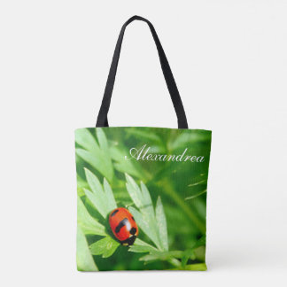 cute Ladybug personalized with Name Tote Bag