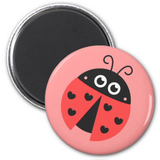 Cute Ladybug with hearts as spots 2 Inch Round Magnet