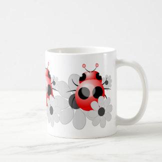 Cute Ladybugs and Black and White Daisies Coffee Mug
