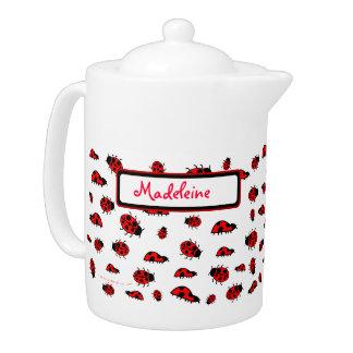 Cute Ladybugs Custom Name Personalized Teapot