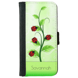 Cute Ladybugs Ladybirds on a Vine iPhone 6 Folio iPhone 6 Wallet Case