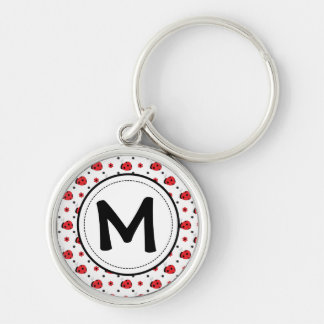 Cute ladybugs monogram key ring Silver-Colored round keychain