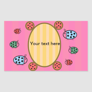 Cute ladybugs on pink stickers