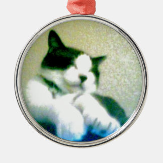 cute laid back kitty metal ornament
