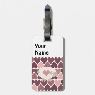 Cute lamb and pink hearts bag tag