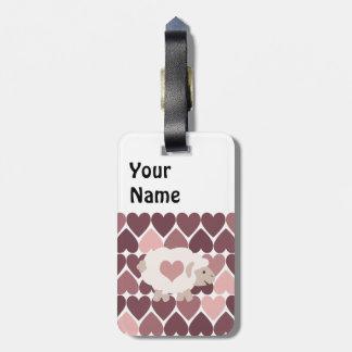 Cute lamb and pink hearts luggage tag