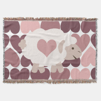 Cute lamb and pink hearts throw blanket