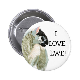Cute Lamb Loves Ewe 2 Inch Round Button