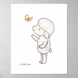 Cute Lamb Sheep Butterfly Nursery Art Print Poster