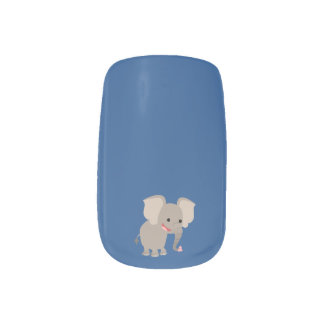 Cute Laughing Cartoon Elephant Nail Art