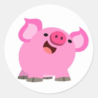 Cute Laughing Cartoon Pig Round Sticker