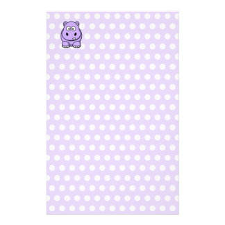 Cute Lavender Hippo Customized Stationery