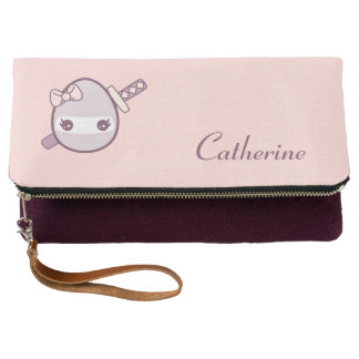 Cute Lavender Ninja Egg With a Katana Clutch