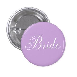 "Cute Lavender Script Typography ""Bride"" 1 Inch Round Button"