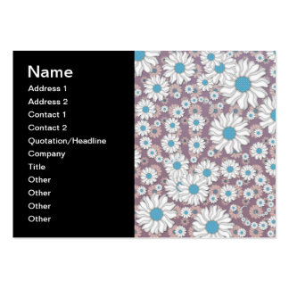 Cute Lavender White Blue Fantasy Daisies Business Card Template
