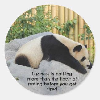 Cute Lazy Day Panda Classic Round Sticker