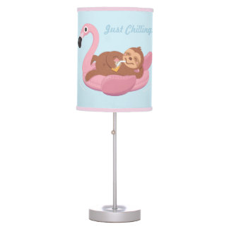 Cute Lazy Sloth on Flamingo Float Girls Room Decor Table Lamp