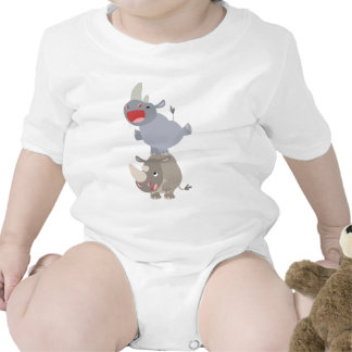 Cute Leapfrog Cartoon Rhinos Baby T-shirts