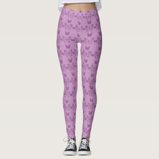 Cute Legging Yoga Workout Pant BUTTERFLY PURPLE