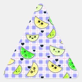 cute lemon lime design for teen girls triangle sticker