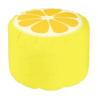 Cute Lemon Slice Citrus Fruit Funny Foodie Fun Pouf