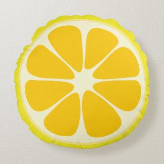 Cute Lemon Slice Citrus Fruit Funny Foodie Fun Round Pillow