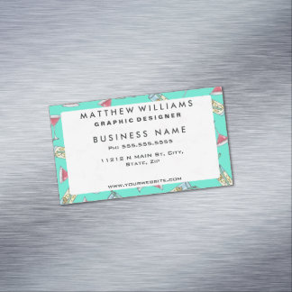 Cute Lemonade and Strawberry Daiquiri Summer Drink Magnetic Business Card