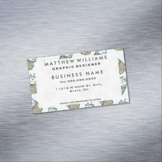 Cute Lemonade Mason Jar Summer Drink Teal Pattern Magnetic Business Card