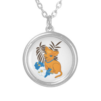 Cute Leo baby cartoon illustration Silver Plated Necklace